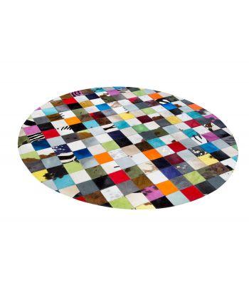Alfombra Multy Patchwork. Cuadros 10x10 cm. Forma redonda.