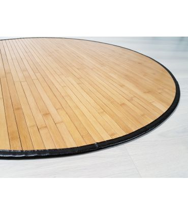 Alfombra de Bambú a medida con forma Redonda con borde PS ISOLA de 15 mm de ancho.