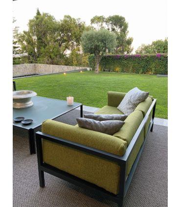 Alfombra Exterior Interior Outdoor 4508. Color Gris 14. Borde Festón. Imagen de cliente.