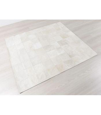 Patchwork Blanco. Alfombra de Piel. Cuadros 20x20.