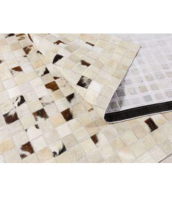 Alfombra Patchwork Piel Toro Degradado. Cuadros 10x10 cm.