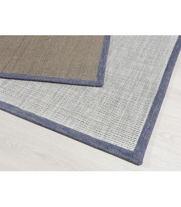 Alfombra de lana modelo Serena. Color Aqua. Borde Tela PE Azul.