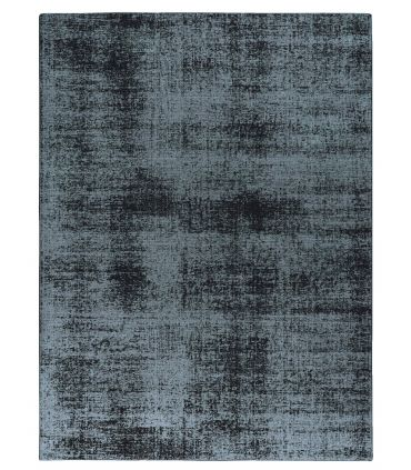 Lunar Silk. Alfombra a medida de fibra reciclada. Color Blue Sapphire. Borde Festón.