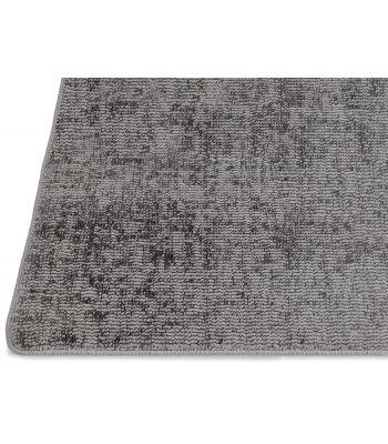 Lunar Silk. Alfombra a medida de fibra reciclada. Color Titanium. Borde Festón.