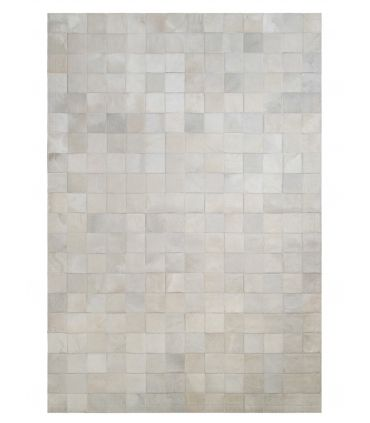 Alfombra Patchwork Blanco. Cuadros 10x10 cm. Sin Cenefa.