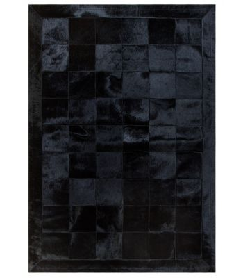 Alfombra Patchwork Negro. Cuadros de 20x20 cm. Cenefa de 10 cm.