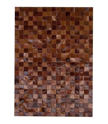 Alfombra Patchwork Multy Marrones. Cuadros de 10x10 cm.