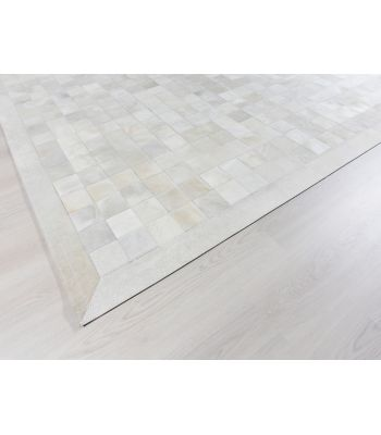 Alfombra Patchwork Blanco. Cuadros 10x10 cm. Con Cenefa.