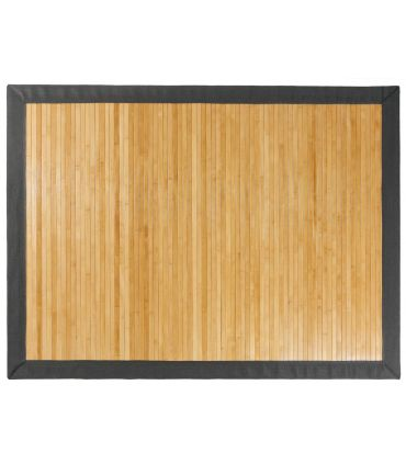 Alfombra de Bambú. Cenefa de Tela Microfibra Espiga Gris.